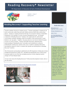 PEI Reading Recovery Spring Newsletter